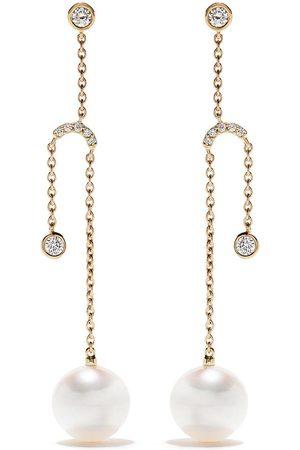 Yoko London 18kt yellow gold Trend diamond and pearl earrings