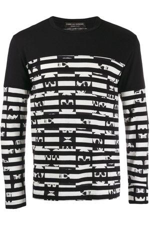 Comme des Garçons Striped skulls longsleeved T-shirt