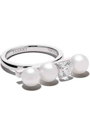 Tasaki 18kt Balance Solo diamond and Akoya pearl ring