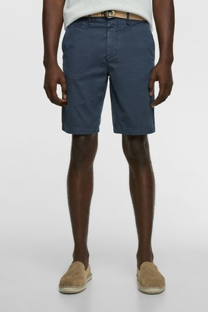 Zara Textured bermuda shorts with belt