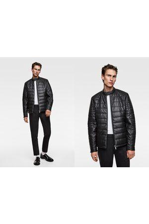 Zara Men Leather Jackets - Faux leather puffer jacket