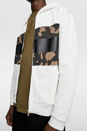 Zara Zip-up hoodie with camouflage panel
