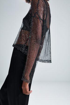 Zara Sequin mesh sweater