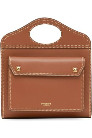 Burberry Mini Topstitch Detail Leather Pocket Bag