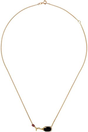 WOUTERS & HENDRIX 18kt UZERAI Exclusive Blue Tiger Eye & Ruby Branch necklace