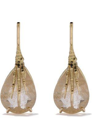 WOUTERS & HENDRIX 18kt claw rutilated quartz earrings
