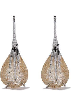 WOUTERS & HENDRIX 18kt gold quartz claw rutilated earrings