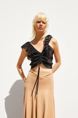 Zara Ruffled polka dot top