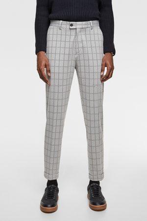 Zara Men Pants - 4-way check comfort knit suit trousers