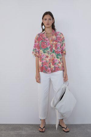 Zara Printed shirt-style blouse