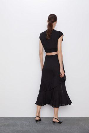 Zara Ruffled polka dot skirt