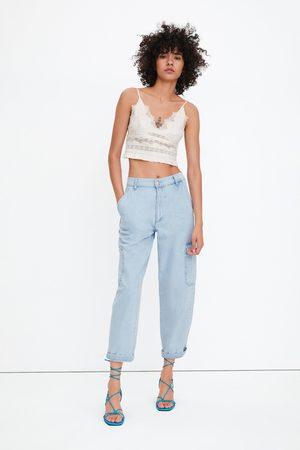 Zara Lace-trimmed crop top