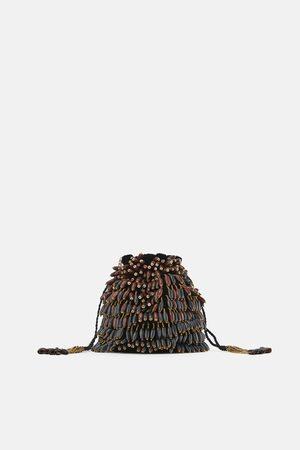 Zara Wooden beaded bucket bag