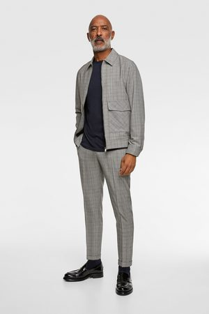 Zara 4-way comfort knit check suit trousers