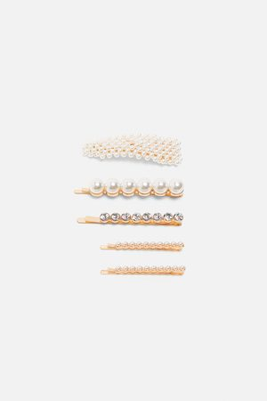 Zara Pack of hair clips with pearl beads and rhinestones