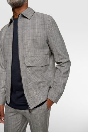 Zara 4-way comfort knit check suit jacket
