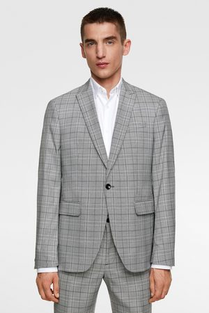 Zara Textured check suit blazer