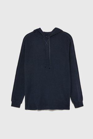 Zara Check-textured hoodie