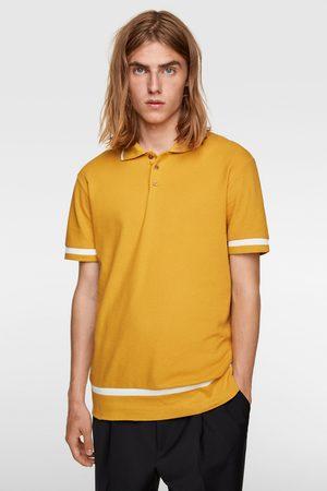 Zara Check-texture weave polo shirt