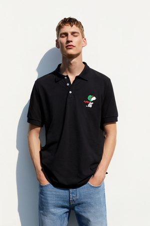 Zara Snoopy © peanuts llc embroidered polo shirt