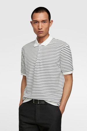 Zara Striped piqué polo shirt