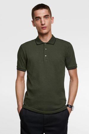 Zara Ribbed polo shirt with contrast trim