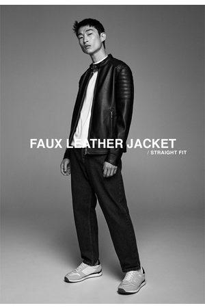 Zara Men Leather Jackets - Faux leather biker jacket