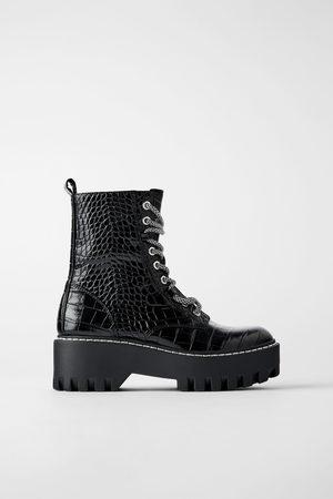 Zara Animal print flat platform ankle boots