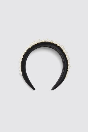 Zara Women Headbands - Satin headband with pearl beads
