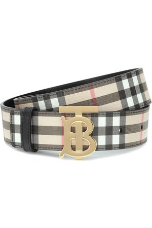 Burberry TB Check leather-trimmed belt
