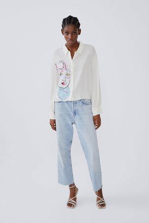 Zara Printed shirt with voluminous sleeves