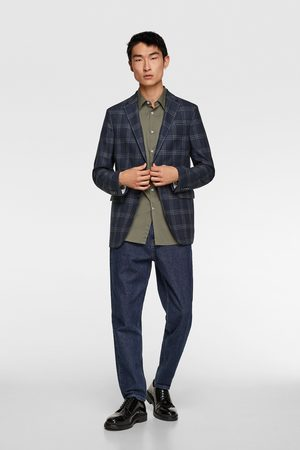 Zara Windowpane checked suit blazer