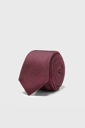 Zara Men Neckties - Geometric jacquard skinny tie