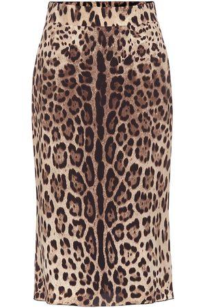 Dolce & Gabbana Leopard-print stretch-silk skirt