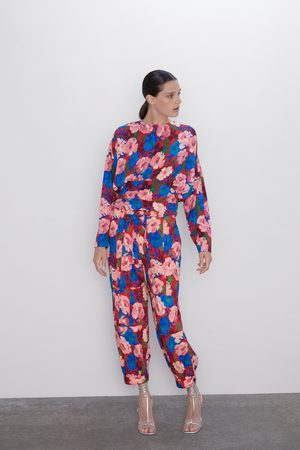 Zara Floral print trousers with belt