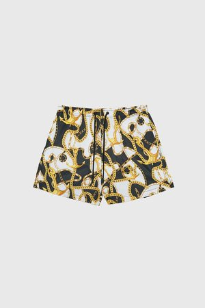 Zara Chain print swimming trunks