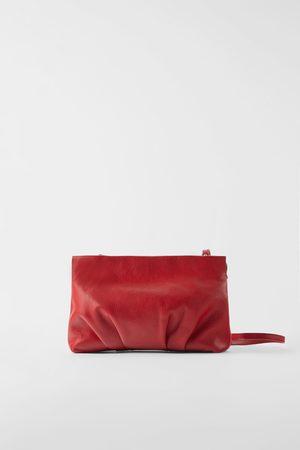 Zara Ruched leather crossbody bag