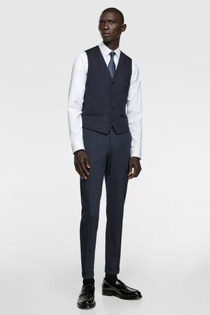 Zara 4-way comfort knit check suit waistcoat