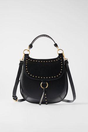 Zara Women Shoulder Bags - Studded equestrian crossbody bag