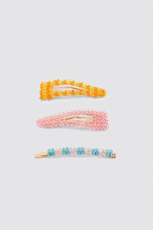 Zara Pack of multicoloured rhinestone hair clips
