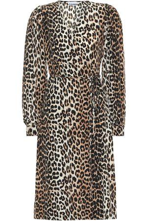 Ganni Leopard-printed silk-blend dress