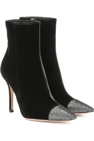 Gianvito Rossi Embellished velvet ankle boots