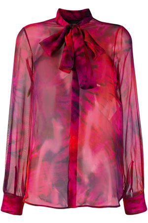 Dsquared2 Pussy bow sheer shirt