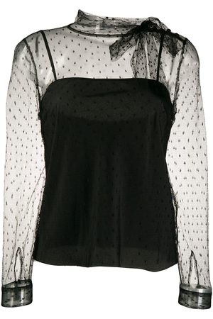 RED Valentino Pussy-bow neck tulle blouse