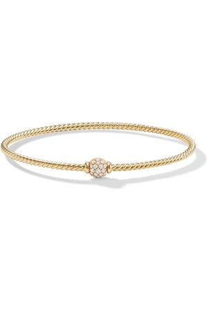 David Yurman 18kt yellow gold Petite Solari Station diamond bangle