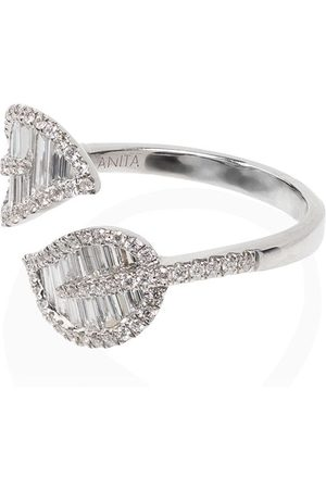 Anita 18kt and diamond wrap-around foliate ring