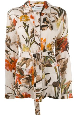 OFF-WHITE Floral-print pyjama style top