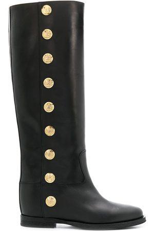Via Roma Women Knee High Boots - Knee high buttoned boots
