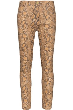 Frame High-rise snake-effect jeans