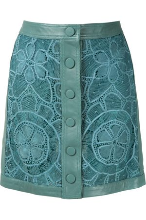 MARTHA MEDEIROS Leather lace skirt